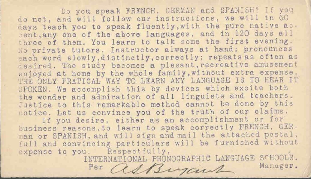 I.P.L.S. (International Phonographic Language School) Postcard.JPG
