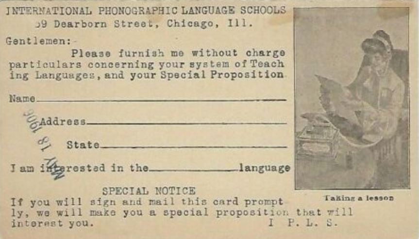 I.P.L.S. (International Phonographic Language School) Postcard 1.JPG